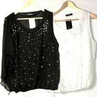 Diamante Blouse Top Sz 10 12 14 16 Womens White Black  One Sleeve Sheer Lined
