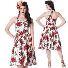 Hell Bunny Rosette 50's Floral Dress Pin Up Rockabilly Swing Dance Vintage Retro