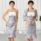 Stock NEW free Jacket Mother of the Bride Outfit Wedding Guests Party Mini Dress