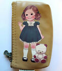 Fabric Doll Mate Lovely Girl Coin / Change Purse Mini Wallet / Card Case - Brown