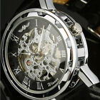 Classic Silver Steampunk Skeleton Hand-Winding Men's Mechanical Army Sport Watch