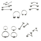 Polished STAINLESS STEEL Piercings - Barbell Ring Labret Stud 1.2 1.6 High End