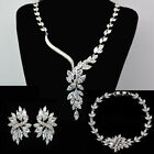 Hand Made Sparkling Wedding Jewelry Bridal Platinum PL Set with Zircon Crystal