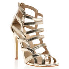 NEW WOMENS ZIP UP STRAPPY LADIES GOLD OPEN TOE HIGH STILETTO HEEL SHOES SIZE 3-8