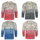 New Mens Brave Soul Dip Dye Paisley Print Pullover Crew Sweatshirt Casual Size