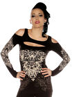 Folter Clothing Cut Out Top Punk Gothic Goth Long Sleeve Shirt Black