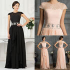2015 Cap Sleeve A line Bridesmaid Formal Evening Prom Gown Long Party Maxi Dress