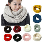 Men Women Winter Warm Infinity 2Circle Cable Knit Cowl Neck Long Scarf Shawl FKS
