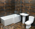 Cube Century L Shape Showerbath Bathroom Suite Right Hand Square / Waterfall Tap