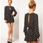 Autumn Women's Loose Polka Dot Jumpsuit Long Sleeve Pants Rompers Skater Dress