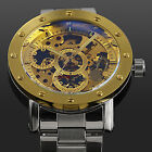 Classic Mans Gold Dial Skeleton Automatic Mens Army Sport Mechanical Wrist Watch