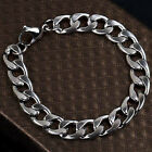 FASHION PLAIN CUBAN CURB RINGS CHAIN MENS WOMENS SOLID STAINLESS STEEL BRACELET