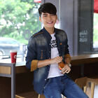 T233 New Mens Jean Casual Stylish Washed Slim Fit Denim Shirts 2 Color XS S MT