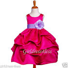 FUCHSIA/LILAC WEDDING GOWN PICK UP FLOWER GIRL DRESS 6M 12M 18M 2 4 6 8 10 12