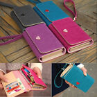 Leather Purse Case Cover Card Wallets for Iphone4 4s 5 Samsung Galaxy Women Gray