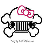 JEEP HELLO KITTY TWO COLOR GIRL BOW SKULL WRANGLER CAR VINYL DECAL STICKER (J-7)