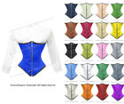 24 Double Steel Boned Waist Training Satin Underbust Shaper Corset #8523-BT-ZIP