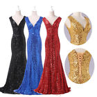 LONG 2015 Sexy Sequins Sparks  Bridesmaid Formal Gown Evening Prom Party Dresses
