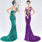 One Shoulder Sexy Long Mermaid Sequins Peacock Bridal Evening Party Dresses Plus