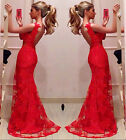 New Ladies Sleeveless Red Lace Long Mermaid Maxi Cocktail Dress