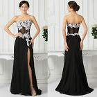 APPLIQUE ~ Chiffon Long Slit Party Bridesmaid Cocktail Gowns Prom Evening Dress
