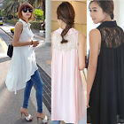Fashion Sleeveless Women Loose Casual Cotton Long Shirt T-Shirts Tops Blouse UK