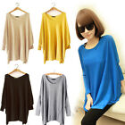 HOT Women Batwing Sleeve Knitted Sweater Pullover Loose Long Jumper Tops Shirt