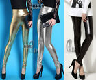AU SELLER SZ 8-14 High Waist Metallic Shiny Dance Rockabilly Pants Leggings P110