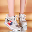 Womens Fashion Flat Heel Sneakers Rivet Punk Trainers Hiking Lace Up Shoes Boots