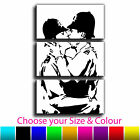 Kissing Police Banksy Treble Canvas Wall Art Picture Print