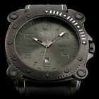 Military Royale Swiss Engraved Cube Dial Mens Leather Army Auto Date Sport Watch