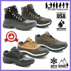 Men's Winter Snow Boots Work Boots Leather Waterproof + Free Socks 0705