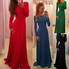 FREE SHIP New Long Sleeve Sexy Long Gown Ball Party Wedding Evening Prom Dresses