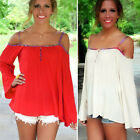 NEW Sexy Woman Tops T-Shirt Off Shoulder Long Sleeve Cocktail Summer party Wear