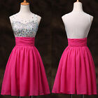 STOCK Sequins+Sheer Prom Graduation Homecoming Formal Party Short Dress 3 COLORS