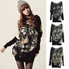 Fashion Women Long Sleeve Knitted Sweater Casual Batwing Tiger Loose Tops Blouse