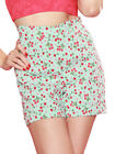 Bettie Page Hot Time Shorts - Cherries Aqua