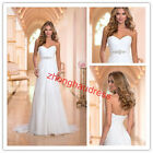 New Custom Made Sweetheart Chiffon Pleat Crystal Empire Bride Gown Wedding Dress