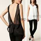 Sexy Women Loose Cropped Tops Vest Bowknot Hollow Back Sleeveless Chiffon Blouse