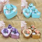 60PCS Gold/Blue/Purple Heart Tin Favor Boxes Wedding Party Shower Gift Candy Box