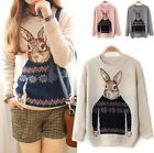 Sales Girl Knitted Animal Rabbit Print Casual Loose Pullover Sweater Outwear Top