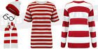 Mens Boys Red White Striped TShirt Fancy Dress Party Boys World Book Day Comic