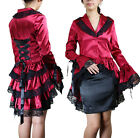 Corset Back Flared Long Red Satin Trench Coat Jacket Victorian Bustle Gothic