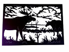 Metal Wall Art Silhouette Sculpture Indoor Outdoor Decor-Moose Family Scene