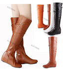 New Women's Low Heel Knee High Strappy Boots Side Zipper Shoes AU All Size Y208