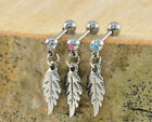 Crystal Gem FEATHER Dangle Upper Ear Cartilage Tragus Bar 1.2mm (16g) x 6 mm