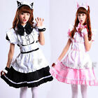 Hot Cosplay Sexy Beer Lolita Cat Ear Maid Outfit Costume Party Dress Apron Set