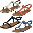 Ladies Clarks Risi Hop Black Or White Leather Strappy T-Bar Sandals D Fitting