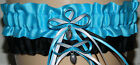 Turquoise, Black White Garter Set Wedding Prom INCLUDES Tossing Garter & Charm
