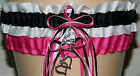 White, Black and Fuchsia Garter Set Wedding Prom INCLUDES Tossing Garter & Charm